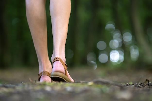 Крупным планом голые стройные ноги молодой женщины, прогулки на открытом воздухе в зеленом летнем лесу.