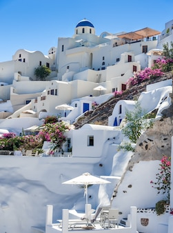 Close up of oia village from the sea