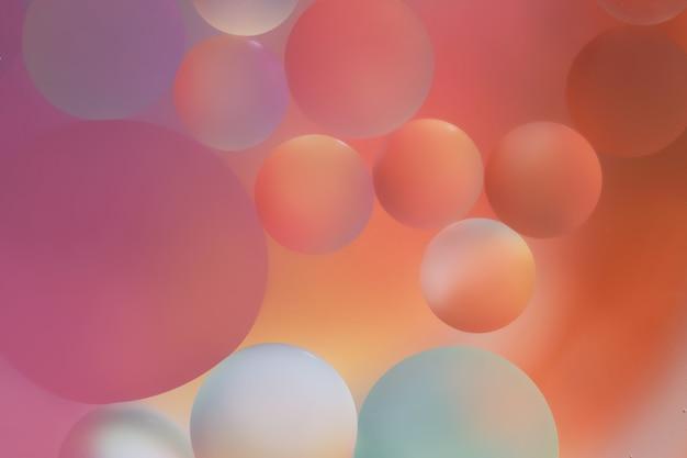 Close up of oil bubbles abstract light illumination.