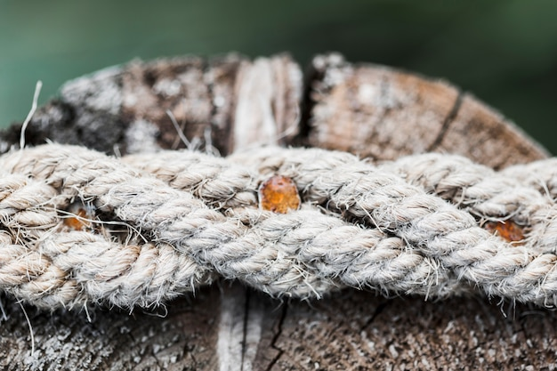 Close-up of old frayed ship rope