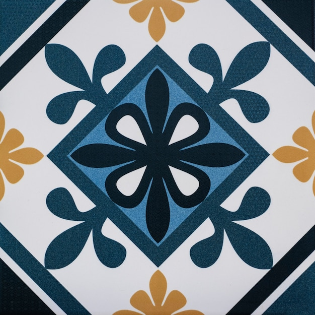 Close-up of old portuguese tiles with details of geometric figures