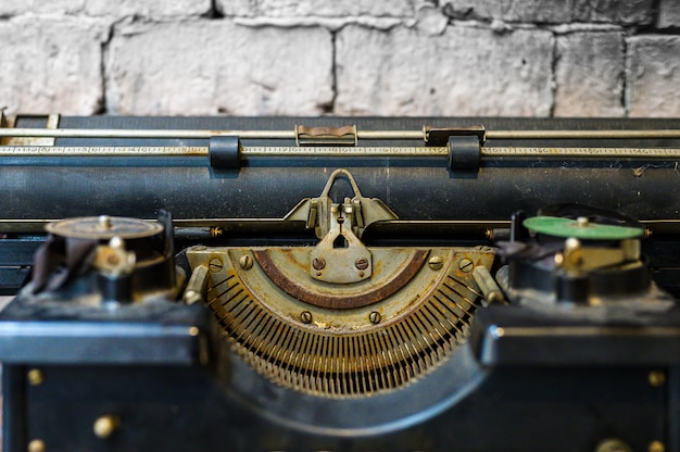 Close up old typewriter in selective focus