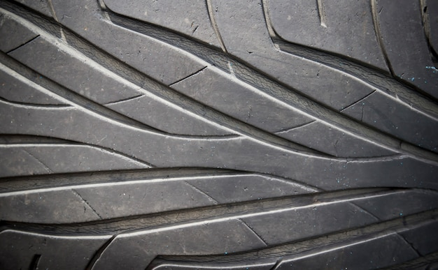 Close up of old used tire texture
