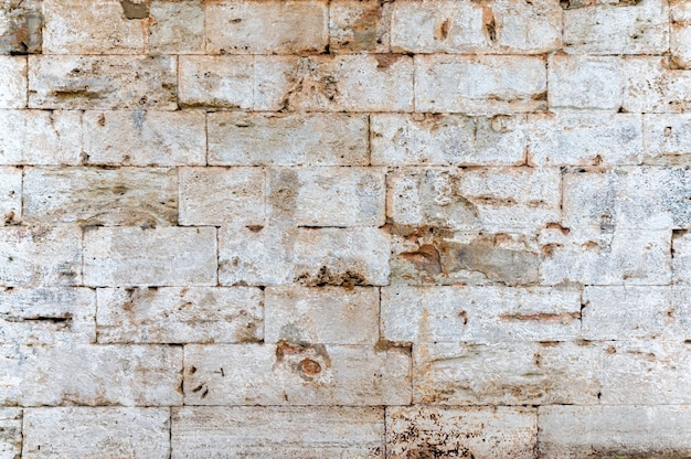 Close-up of old white bricks stonewall texture background