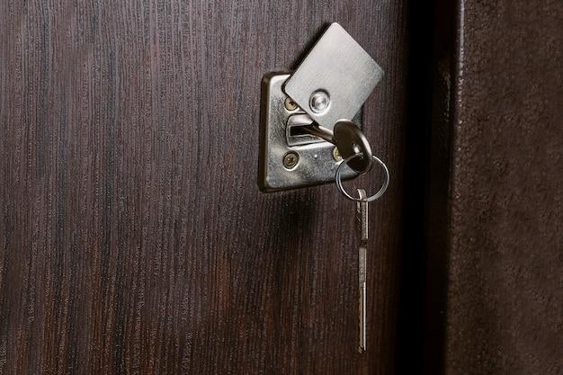 戸口のキーのセットにクローズアップ