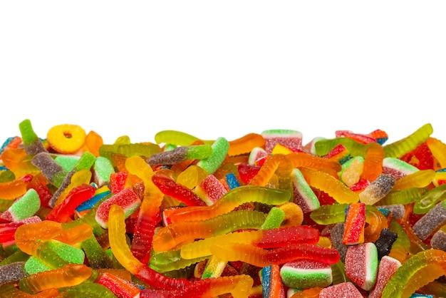 Крупным планом на ассорти мармеладных конфет