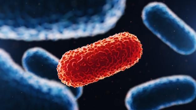 Крупным планом на бактерии на медицинском фоне