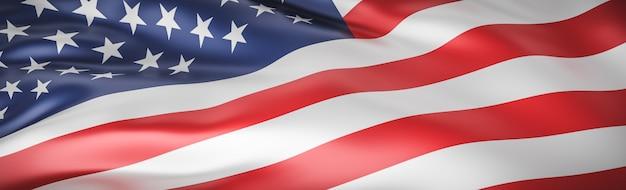 Крупным планом на волне красивый американский флаг