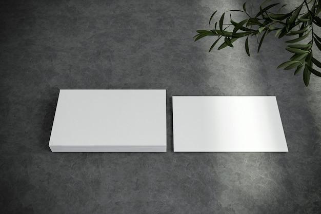 空白の白い名刺にクローズアップ