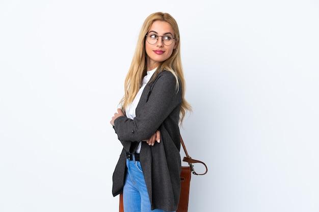 Крупным планом на бизнес-леди изолированы смех