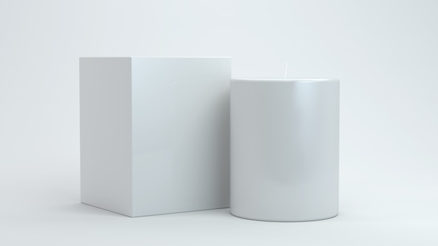 촛불과 3d 렌더링 상자에 가까이