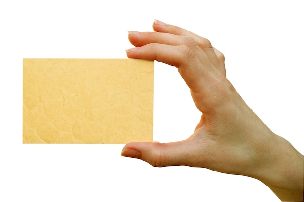 手で空白のカードをクローズアップ