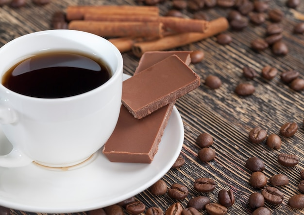 コーヒーとチョコレートのクローズアップ