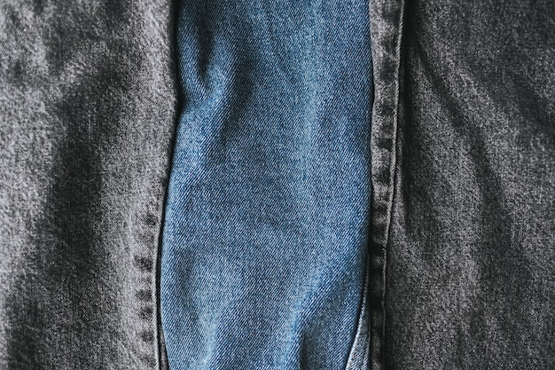 ジーンズのさまざまな色にクローズアップ