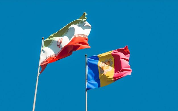 Крупным планом на флагах ирана и андорры