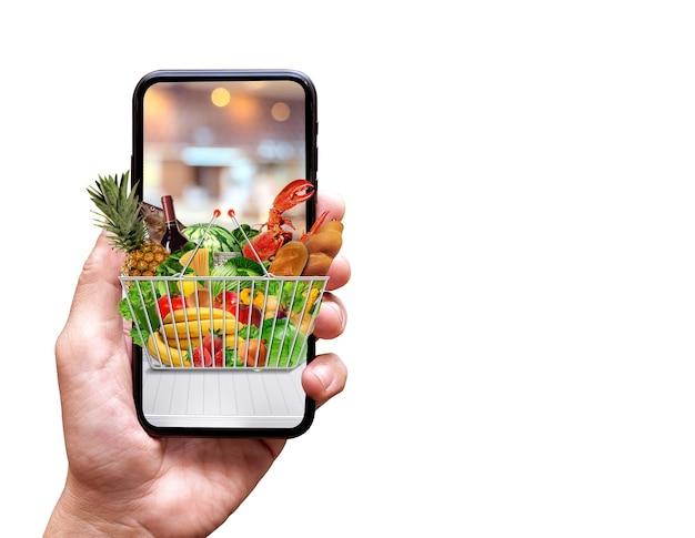 生鮮食品の配達の概念をクローズアップ
