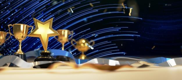 Крупным планом на золотой трофей в 3d-рендеринге