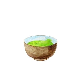 Крупным планом на зеленый чай в коричневой чашке изолированы