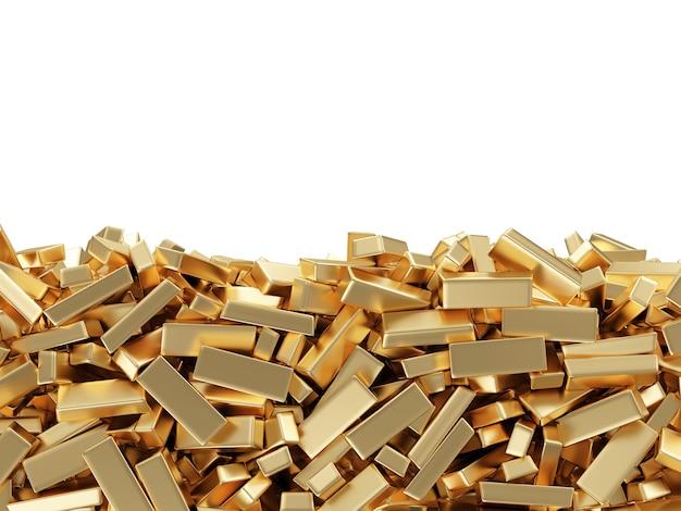 Крупным планом на куче золотых слитков изолированные