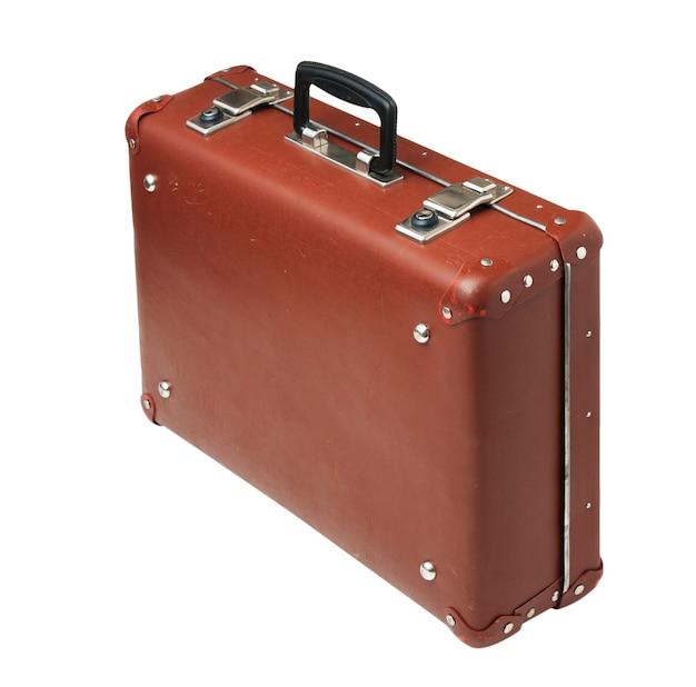 Крупным планом на старый старый изолированный чемодан