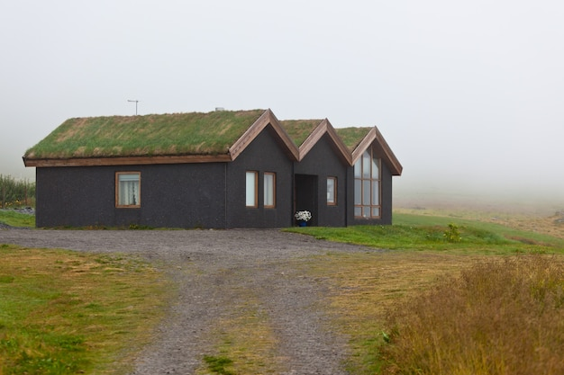 草に覆われた田舎家のクローズアップ