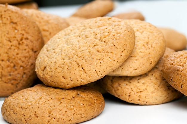 丸いクッキーにクローズアップ