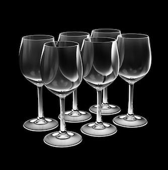 Крупным планом на набор бокал для вина, изолированные