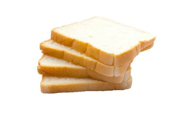 아침 식사를 위해 얇게 썬 부드러운 맛있는 흰 빵에 가까이