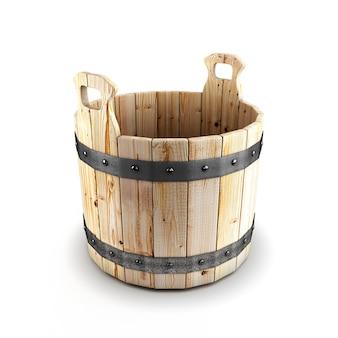 Крупным планом на деревянном ведре для ванны изолированные