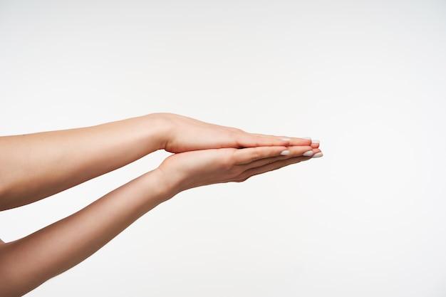 함께 손바닥을 접는 젊은 우아한 여자의 손에 닫습니다