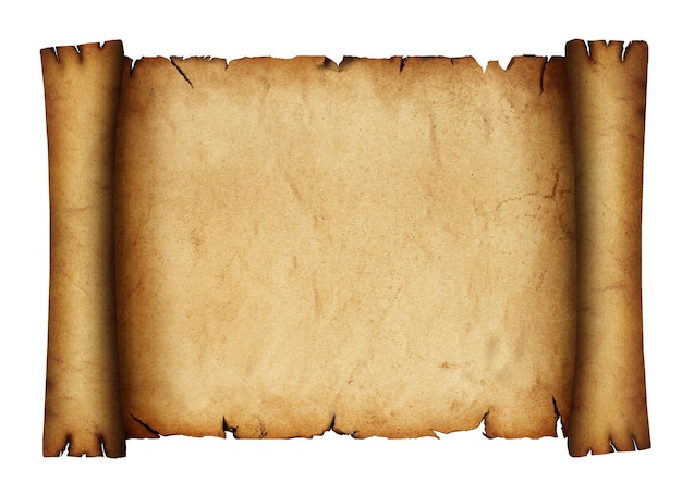 Close up one blank old antique vintage brown paper parchment scroll isolated on white background