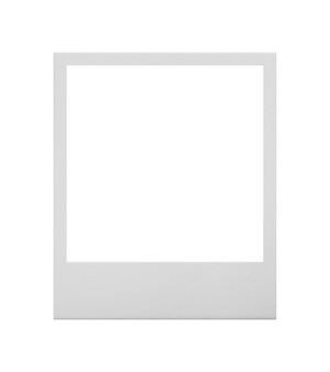 Close up one empty polaroid instant photo frame isolated on white background