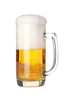 クローズアップ1つの泡状のビールグラス