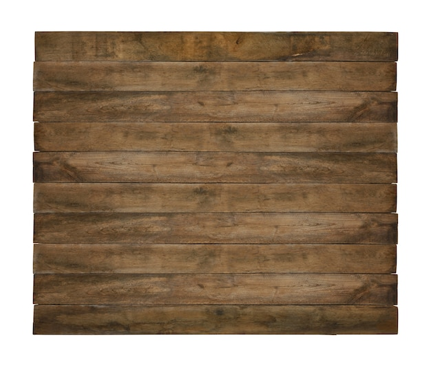 Close up one old weathered grunge brown wooden board isolated on white background