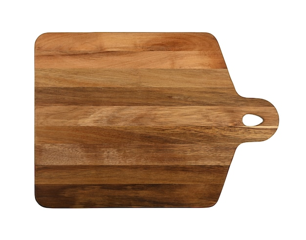 Close up of one rectangle shaped brown oak wood kitchen cutting board with handle isolated on white background