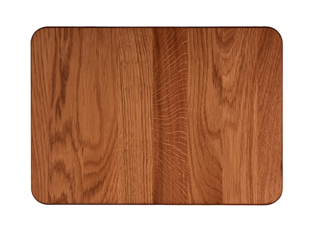 Close up of one rectangle shaped dark brown oak wood kitchen cutting board with dark burn stains and knife cut traces isolated on white background