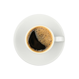 Close up one white cup full of black instant coffee on saucer isolated on white background, elevated top view, directly above