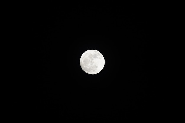Close up only the full moon in the black sky.