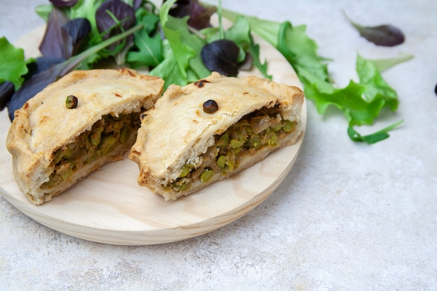 Close-up of opened pea pie