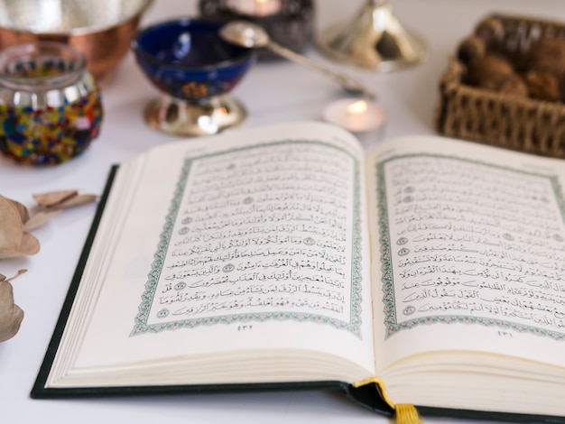 Close up opened quran on the table