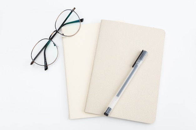 Close-up optical eyeglasses on a notebook