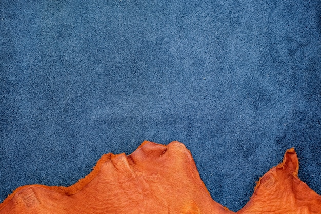 Close up orange rough edge and navy blue leather divide in two section, fashion texture