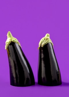 Close-up organic aubergine on the table