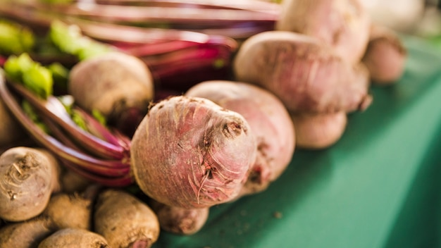 Close-up of organic fresh beetroot with leaves