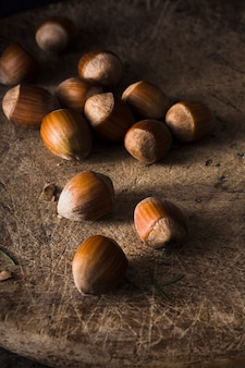 Close-up organic hazelnuts on the table