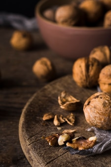 Close-up organic walnuts ready to be served