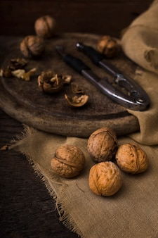 Close-up organic walnuts on the table