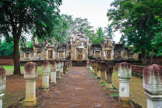 Close up the outer door and the wall of prasat sadok kok thome is a khmer temple in thaila
