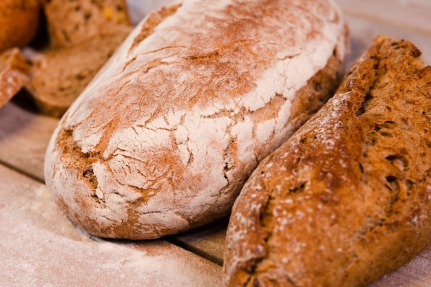 Close-up oven baked bread loafs