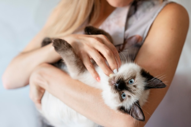 Крупным планом владелец держит кошку